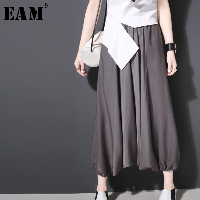[EAM] High Elastic Waist Black Leisure Wide Leg Trousers New Loose Fit Pants Women Fashion Tide Spring Autumn 2020 S6360