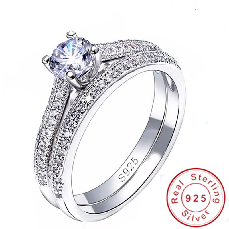 Fine Jewelry Original 925 Sterling Silver Rings Set for Women AAAAA Cubic Zircon Bridal Engagement Wedding Ring Jewelry