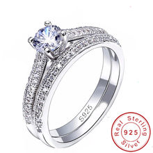 Fine Jewelry Original 925 Sterling Silver Rings Set for Women AAAAA Cubic Zircon Bridal Engagement Wedding Ring Jewelry(China)