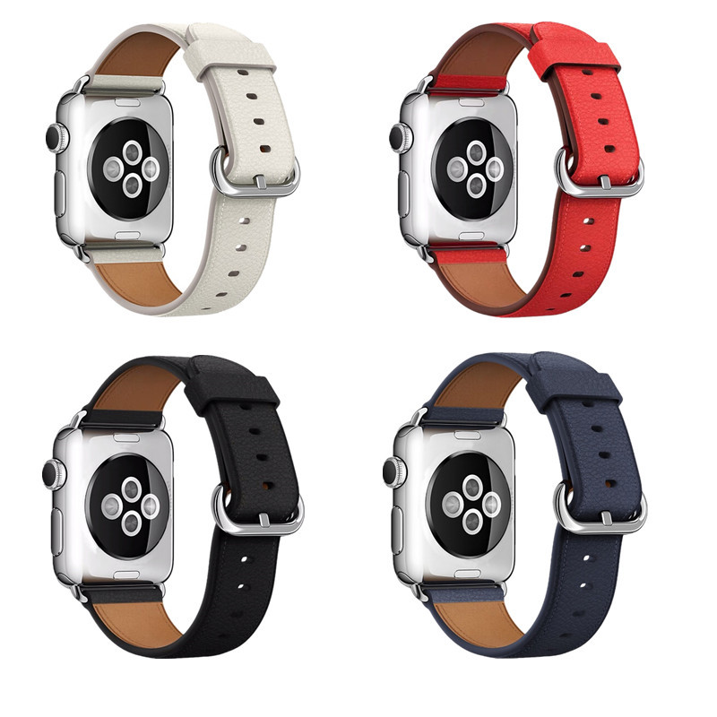 Suitable For APPLE Watch 1/2/3/4 Generation Embossed Leather Classic Buckle IWatch First Layer Of Genuine Leather Watch Band