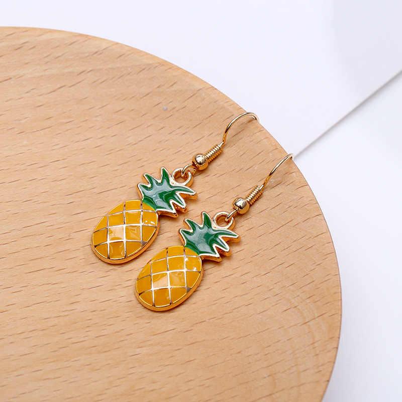 Versão coreana do bonito fruta abacaxi abacaxi pequeno fresco brincos longos feminino temperamento coreano brincos