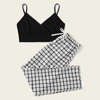 Conjunto de ropa de dormir Vintage para mujer, chaleco sin mangas con tirantes, pantalones con estampado de cuadros y lazo, Conjunto de pijama para mujer, traje para casa
