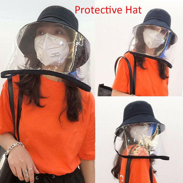Anti-fog Saliva Face Masks Windproof Fisherman Hat Removable Protection Cap Protective Face Shield Transparent Mask 5