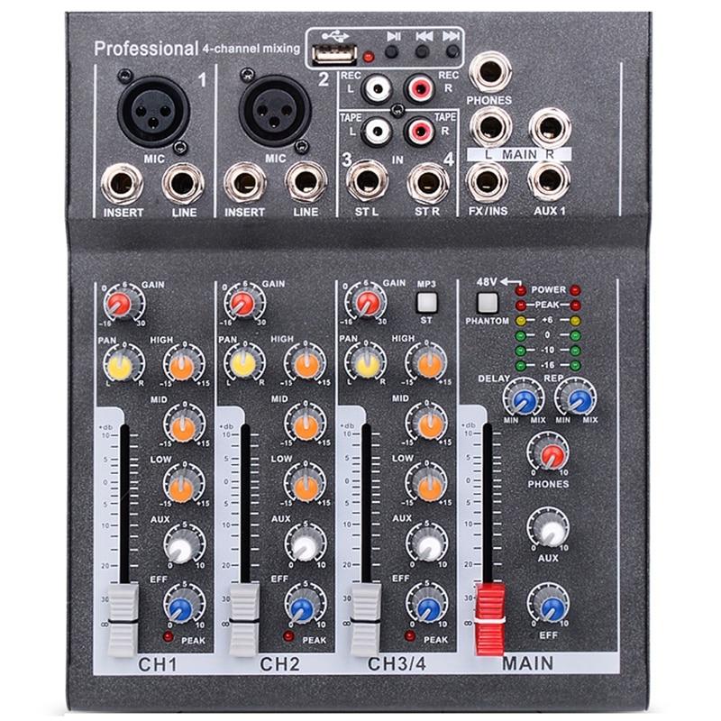 Eu Plug Mini Portable Audio Mixer With Usb Dj Sound Mixing Console Mp3 Jack 4 Channel Karaoke 48V Amplifier For Karaoke Ktv Matc
