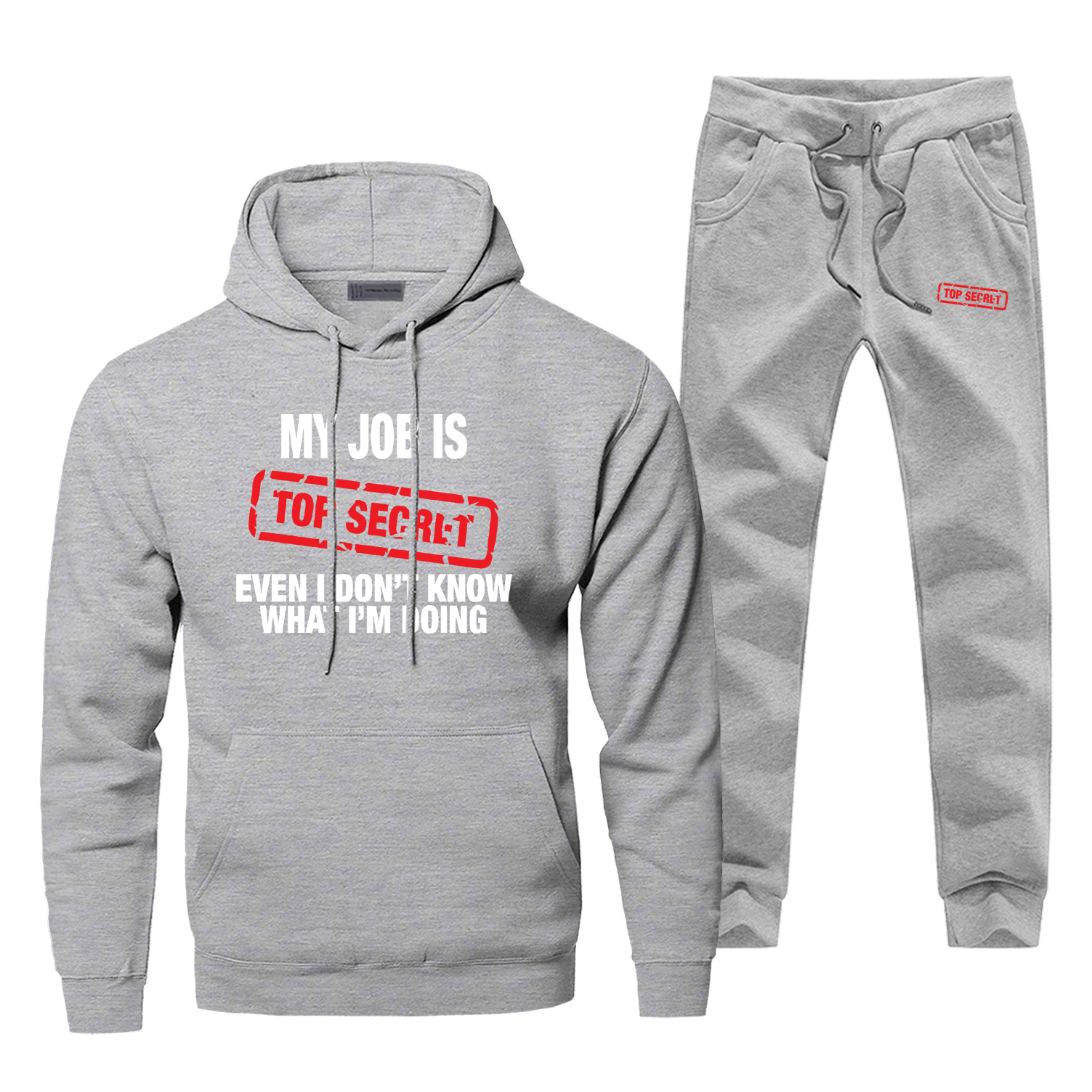 Funny Letter Print Gray Men's Sets Casual Fashion My Job Is Top Secre Men's Full Suit Tracksuit Winter Warm Comfortable Male Set