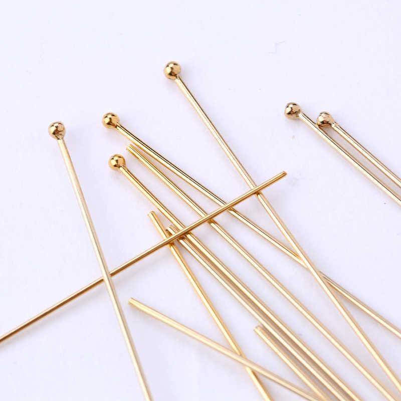 Bir çift 0.41/0.50/0.63MM 14K altın dolgulu top kafa pimleri İğneler DIY takı boncuk küpe yapımı, takı aksesuarları 9 boyutları