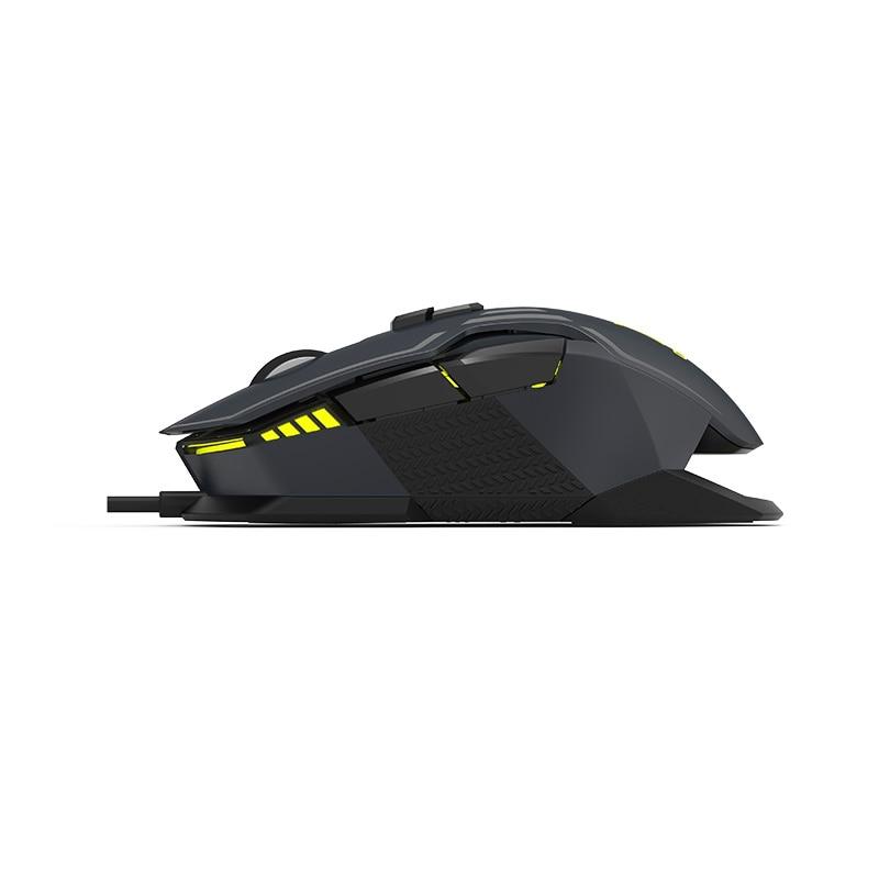 Delux M628 Проводная игровая RGB мышь PMW3389 16000 dpi Съемный вес 3 встроенные профили памяти 9 программируемых кнопок мыши