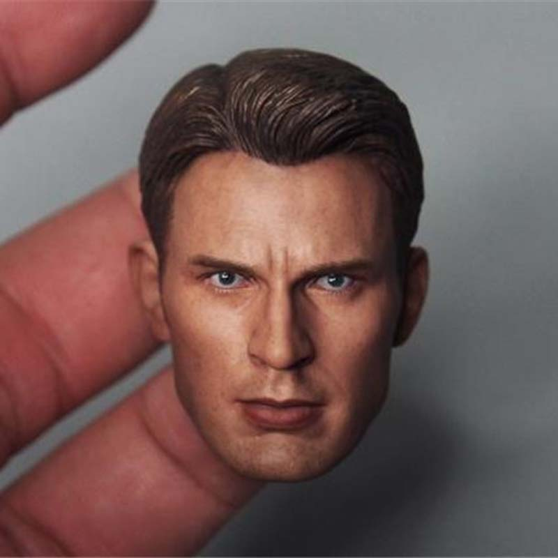 1/6 Scale Soldier Head Sculpt Steve Rogers Male Head Carving The Avengers Captain American Head for 12 Inches DIY Action Figure