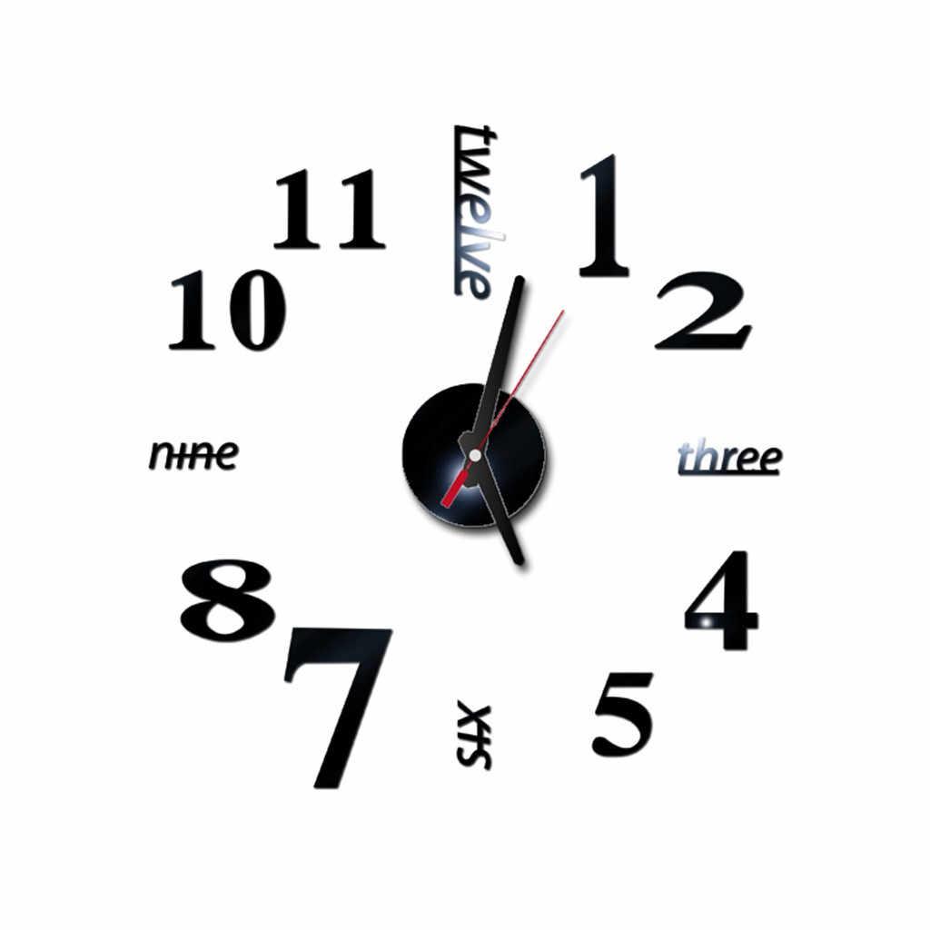 3D zegar ścienny diy cyfry rzymskie lustro akrylowe naklejka ścienna zegar mural dekoracja wnętrz naklejka zegarek salon igła kwarcowa Horloge