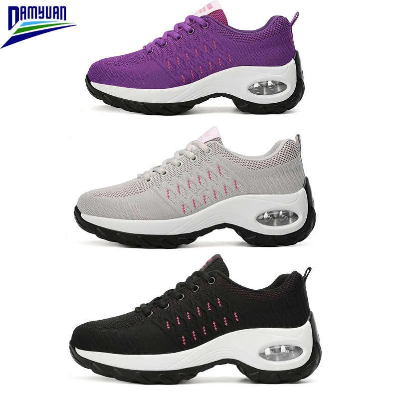 Damyuan Sneakers üzerinde kayma 2020 bahar yeni Ademen Schoenen Dames rahat Platform Loafers Lace Up nefes ayakkabı kadın