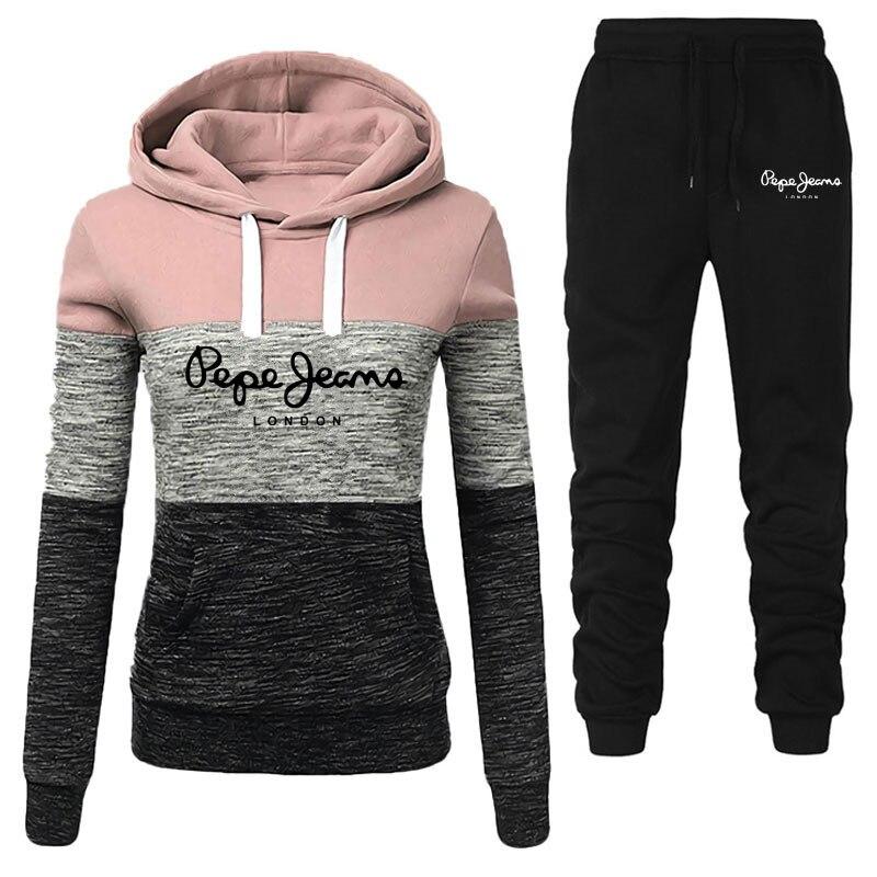Ensemble pull à capuche et pantalon de sport pour femme,survêtement d'hiver, vêtement automne, sweat, 2 pièces,