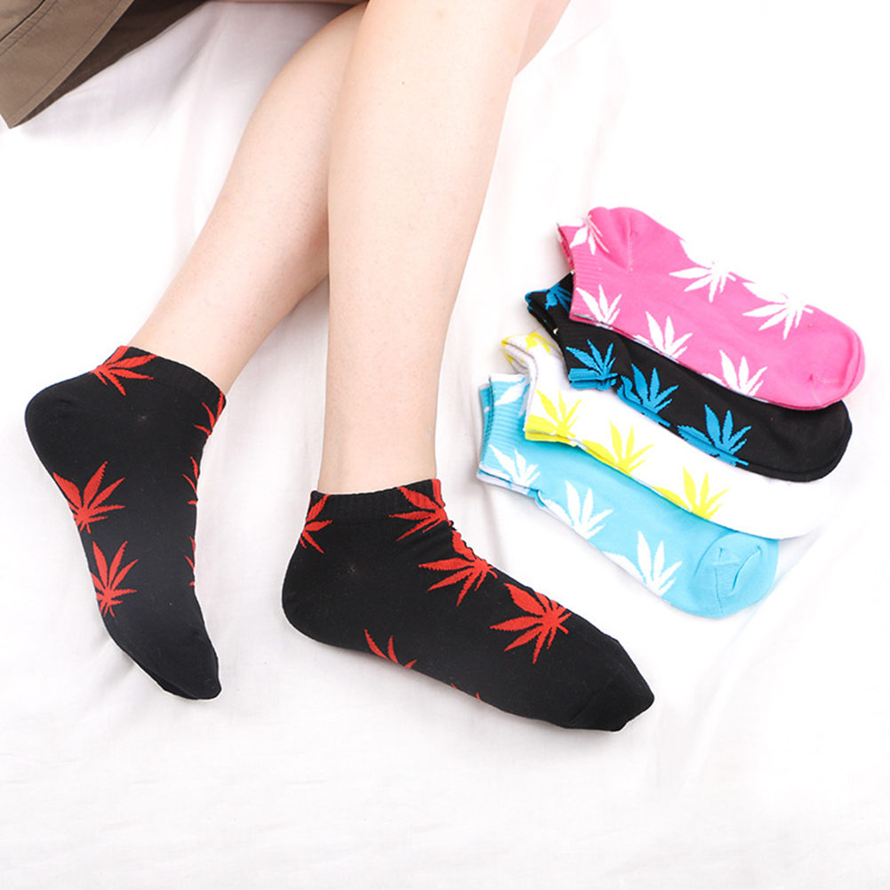 High Quality Men Women Cotton Ankle Socks Marijuana Leaf Casual Short Weed Sock Sweat Breathable Men Socks Casual Fashion Sock