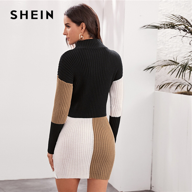 Cut and Sew Bodycon Sweater Dress Without Belt Women