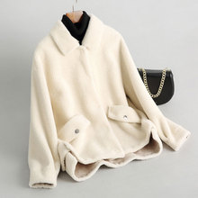 New Granule Sheep Woolen Blends Coat Women Autumn and Winter 2019 Fashion Compound Double-faced Fur Outerwear