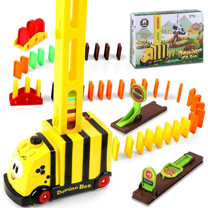 Domino automatique pour enfants pose de briques jouet Train voiture piste motorisée blocs voitures Parent-enfant jeu interactif enfants noël