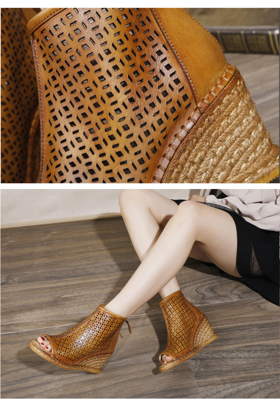 Spring Summer 2020 New Women Wedges Sandals Genuine Leather Peep Toe Hollow Woven High Wedge Heels Shoes Woman High-Top Sandals (17)