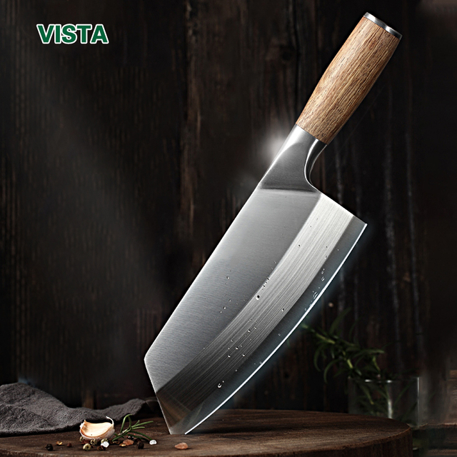 Chef Cleaver Knife Stainless Steel Wood Handle 1