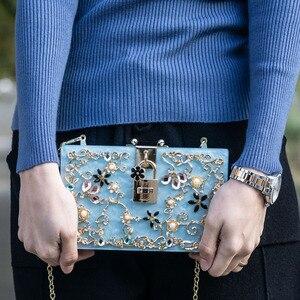 Image 5 - Boutique De FGG Bolso De mano con caja negra De acrílico para mujer, pochette De noche con cristales y flores, para hombro y cadena, Crossboday