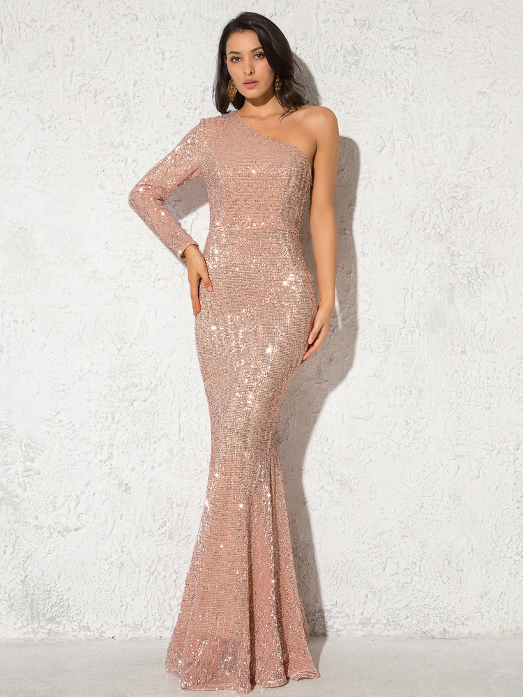 One Shoulder Stretchy Backless Sequin Long Bridesmaid Dress 6