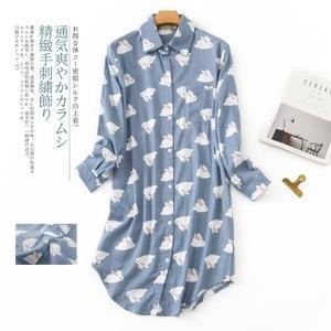 Image 5 - Womens Plus Size Nightdress 100% Brushed Cotton Nightgown Flannel Boyfriend Nightshirt Autumn Winter Print Cartoon Sleepwear