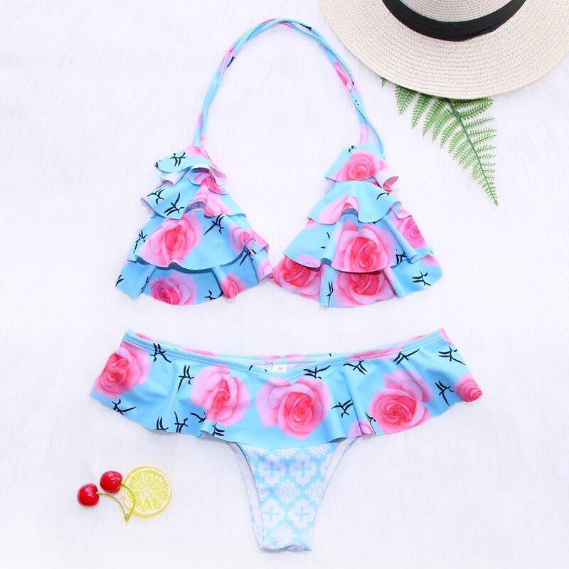 H612100ef14b74428bdbd93c52d1989dbc Miyouj Ruffle Bikini Off Shoulder Floral Swimsuit Bandage Bow Swimwear Push Up Biquini Feminino Bathing Suit Women Bikini Set