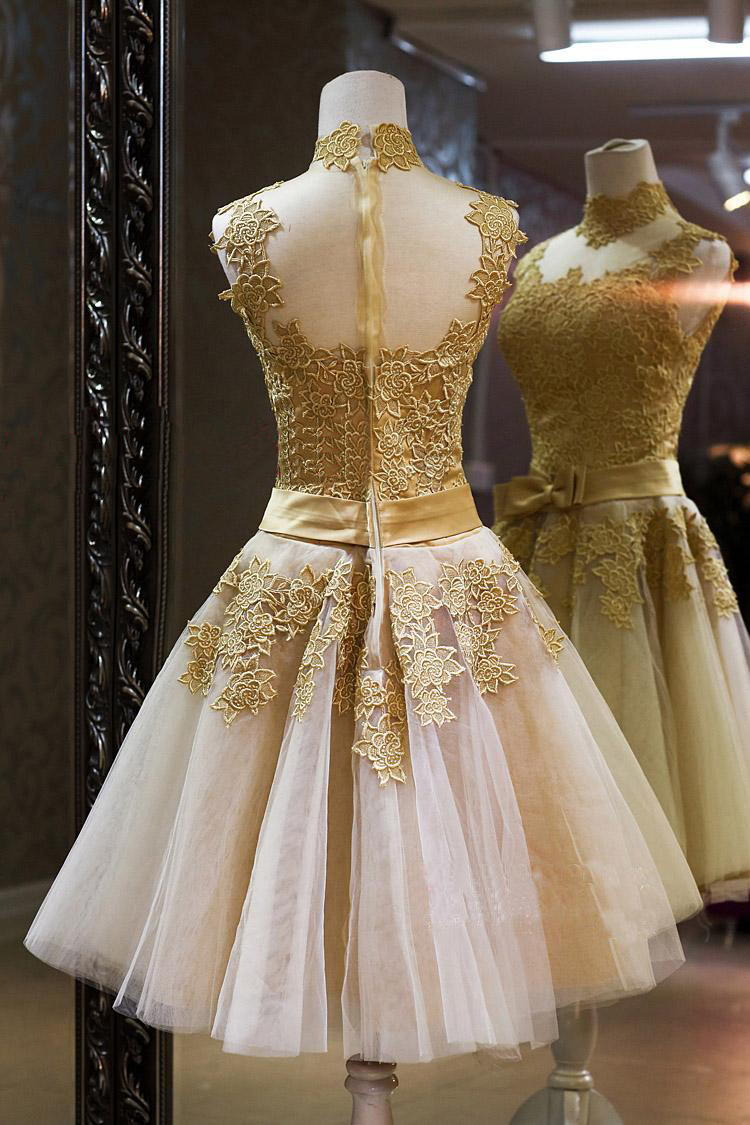 Short Gold prom dresses 2019 vestidos coctel robe cocktail Vintage Royal Lace Cocktail Dresses Prom Dress Vestido De Novia