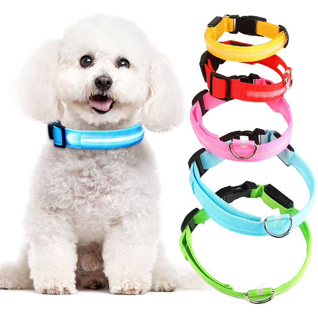 LED Glowing Pet Collar - USB Rechargeable 5 COLORS Puppy Glow  1