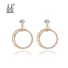 DREJEW Geometric Circle Gold Silver Rhinestone Statement Earrings Sets 2019 925 Drop for Women Wedding Jewelry HE814