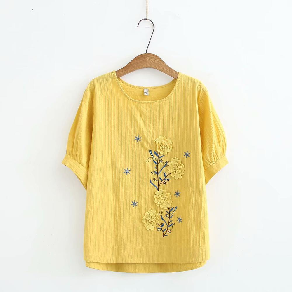 Appliques Embroidery O-neck Cotton Women Loose Tshirts 2020 New Plus Size Summer T-shirts Casual Ladies Soft T Shirts Female Top