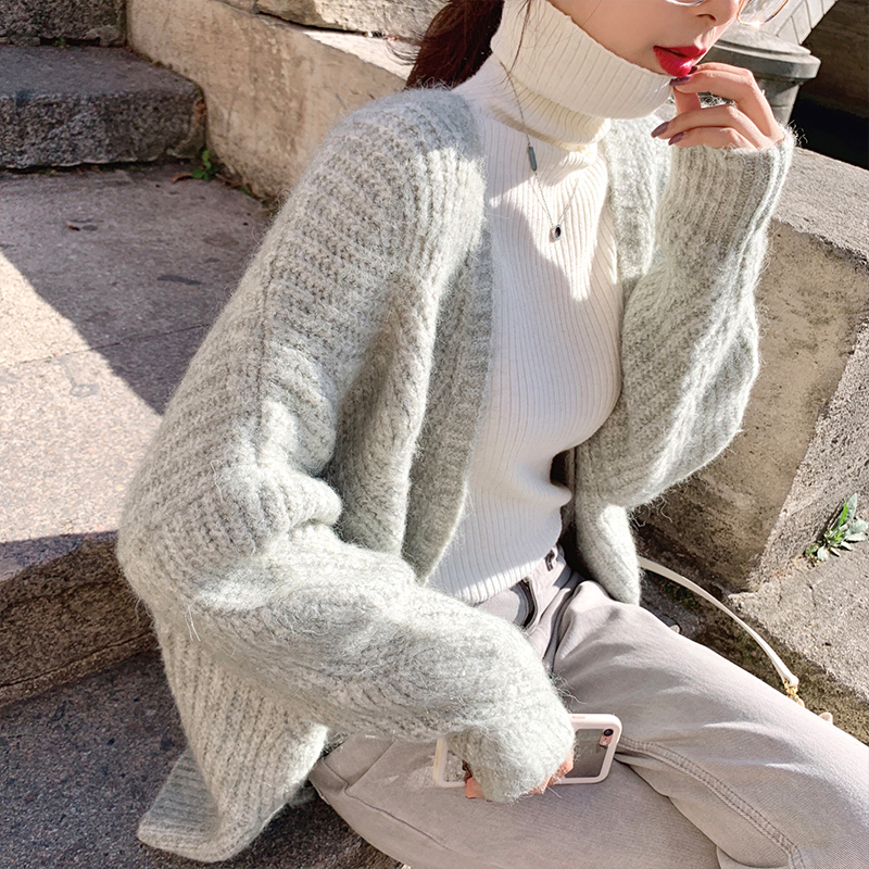 MISHOW 2019 Autumn Winter Thick Knit Cardigan Coat Women Solid  Long Sleeve Loose Knit Coat Tops MX19C5250