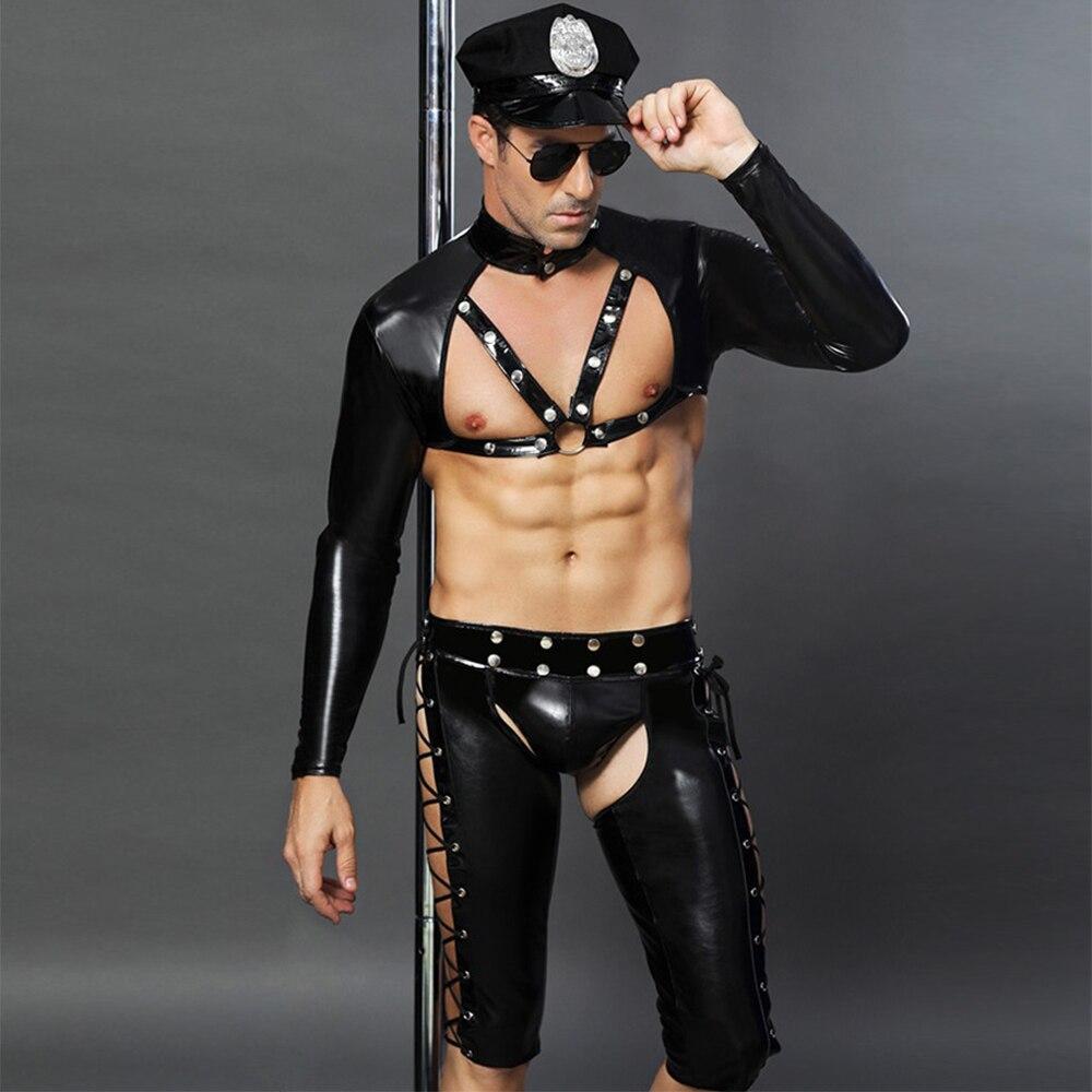 Sexy Latex Costumes érotique adulte amérique us Police sale flic officier Costume ouvert entrejambe fantaisie Wetlook PVC Cosplay ensemble pour hommes