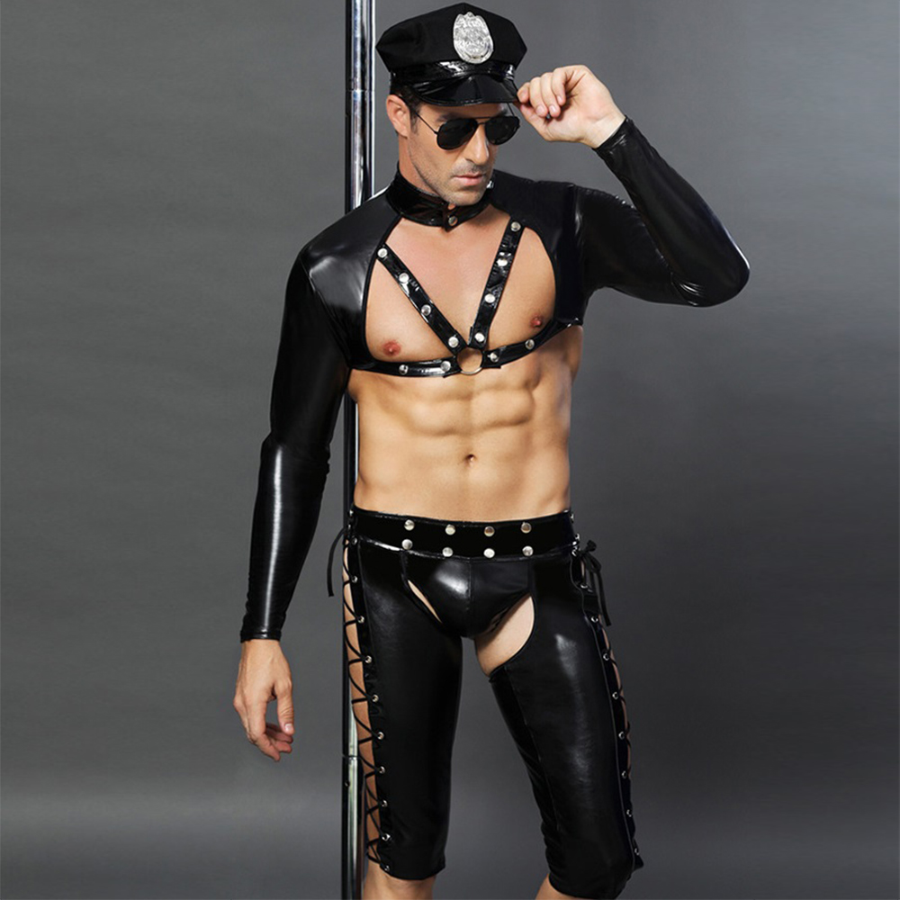 Sexy Latex Costumes Erotic Adult America U.S. Police Dirty Cop Officer Costume Open Crotch Fancy Wetlook PVC Cosplay Set For Men