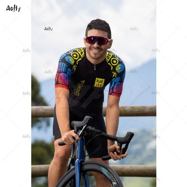 Kafitt equipe colômbia 2020 preto masculino feminino ciclismo terno sexy macacão feminino umidade wicking triathlon skinsuit uv reflexivo 5