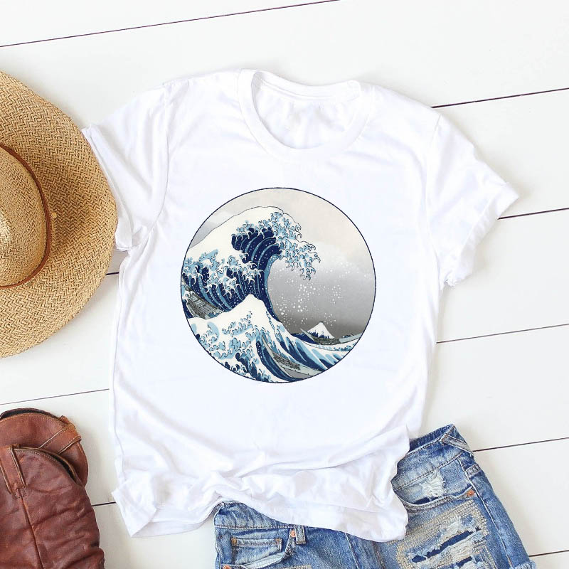 <font><b>Women</b></font> Character T Shirt wave summer Painting Fashion Cute <font><b>Women</b></font> Female Casual <font><b>Tshirt</b></font> Camisa Mujer Top Graphic Tees T-shirt image