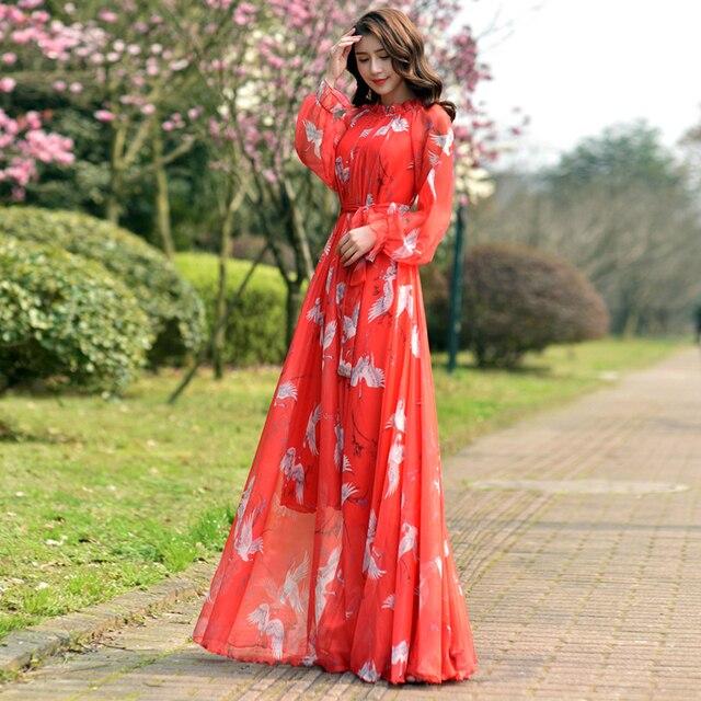 Long Sleeve Bohemian Chiffon Floral Long Plus Size Summer Wedding Guest Beach Holiday Floryday Maxi Dress Bridesmaid Sundress 6