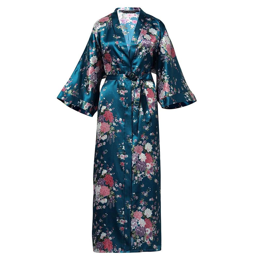 Elegant Dark Green Lady Wedding Robe Kimono Gown Exquisite Print Flower Sleepwear Nightdress Soft Satin Intimate Bath Gown 3XL