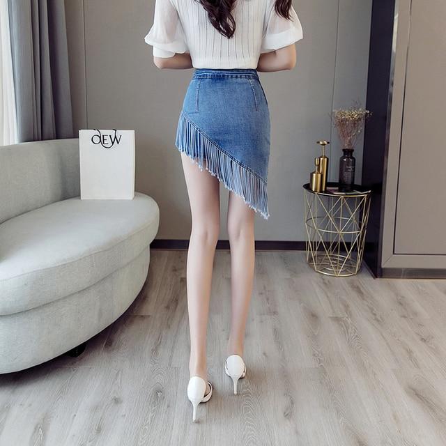 Denim Skirt Zipper High Elastic Hip