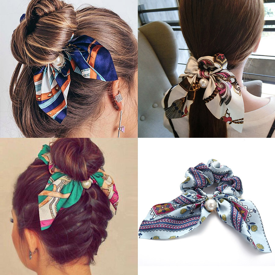 EADOLRAY Bohemian Floral Pearl Headband Ribbon Bow Ponytail Scarf Hair Tie Scrunchies Women Girls Elastic Hair Bands Headwear