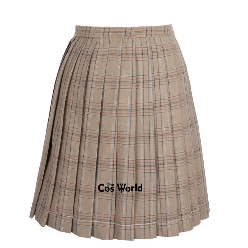 [Khaki] Girl's Summer High Waist Pleated Skirts Plaid Skirts Women Dress For JK School Uniform Students Cloths