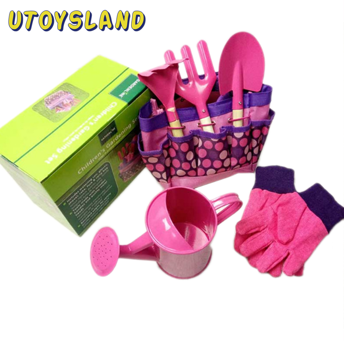 Children Outdoor Garden Toy Gardening Tool Set Kettle Gloves Garden Tool Toys For Girl Boy Pretend Toy Accessories Set-Pink Blue