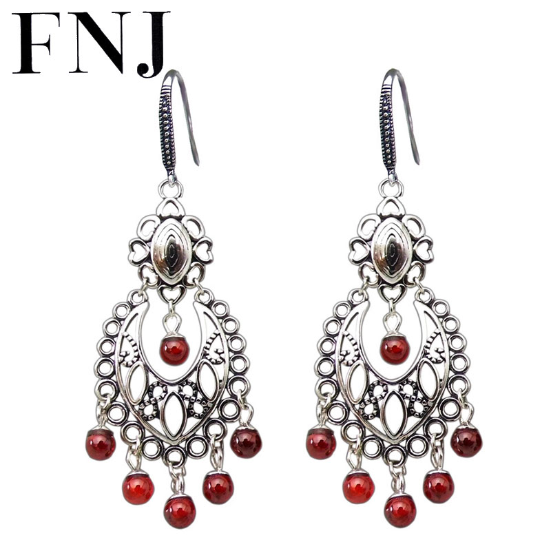 FNJ Hollow <font><b>Tasel</b></font> <font><b>Earrings</b></font> 925 Silver New Fashion Red Stone Green Original S925 Sterling Silver Drop <font><b>Earring</b></font> for Women Jewelry image