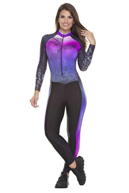 2019 pro equipe triathlon terno feminino ciclismo manga longa camisa skinsuit macacão maillot ciclismo ropa ciclismo conjunto gel 1