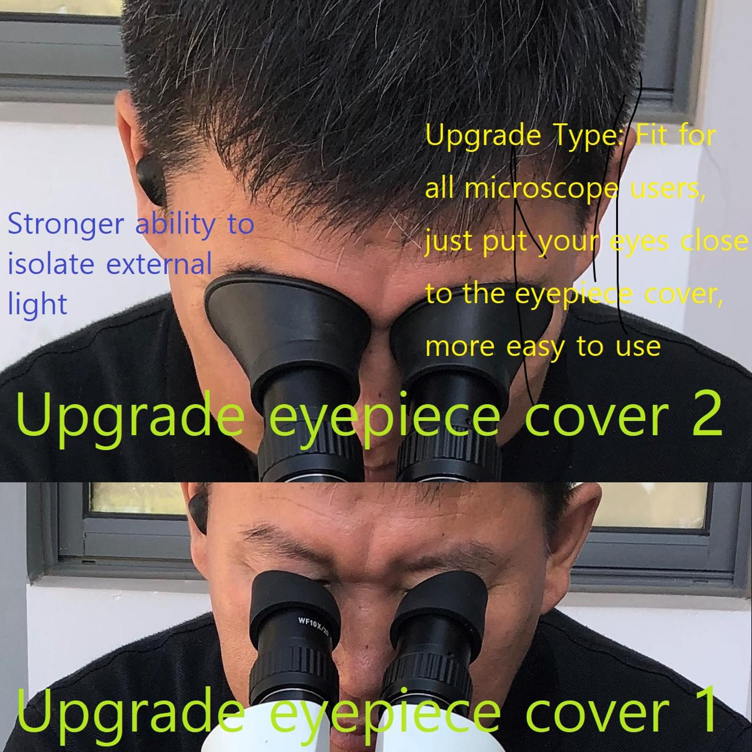Lucky Zoom 2 Pcs/Set Upgrade Microscope Rubber Eyepiece Cover Guards For Stereo Microscope Monocular  Large Eyepiece Guards