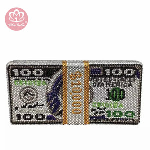 Chi Belle trend w modzie kryształ 100 dolarów pieniądze wieczorowa kopertówka luksusowe rhinestone bling dolarów bill torebka kopertówka