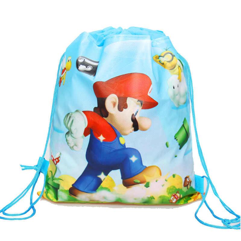 1Pcs Cartoon Eenhoorn/Prinses/Mario Koord Bag Draw Pocket Kids School Rugzak Kids Feestartikelen Gift Bag
