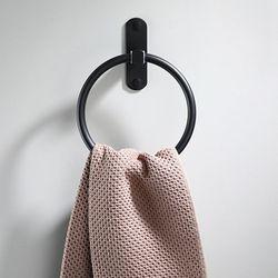Espaço preto alumínio suporte de toalha redonda anel toalha fixado na parede rack prateleira para casa hotel acessórios do banheiro