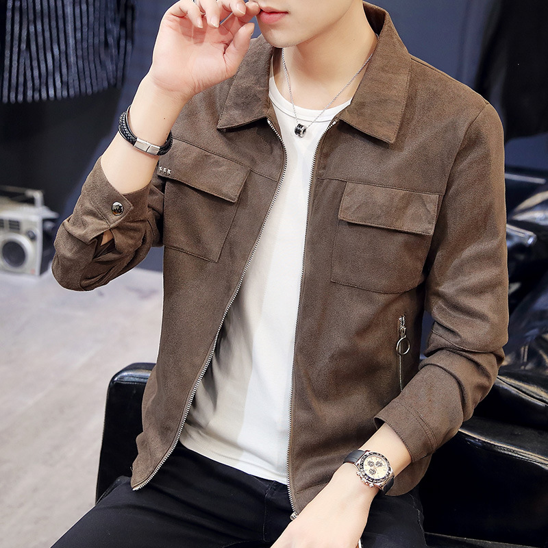Autumn And Winter New Style Men's Fold-down Collar Jacket Fashion Brand Multi-pockets Jacket Young MEN'S Casual Cardigan Coat