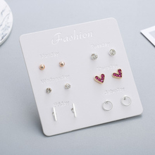 6 Pairs/set One Week Earring 2019 Trendy Silver Crystal Rhinestone Stud Earrings Set For Women Round Ball Heart Small Earring leaf design earring set with rhinestone