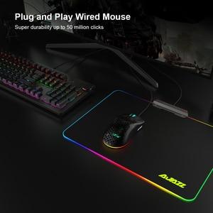 Image 5 - AJ390 ratón para videojuegos con luz LED, 6 colores, 16000DPI, ajustable, 7 teclas, diseño hueco, 69g, con cable para ordenador