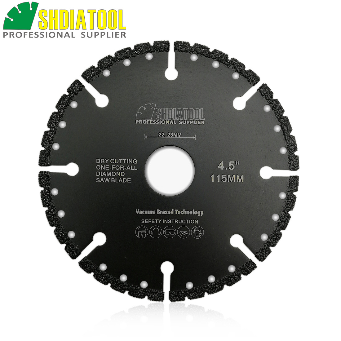 SHDIATOOL 115mm Vacuum Brazed Diamond Blade For All Purpose For Stone Iron Cast Steel Aluminum 4.5